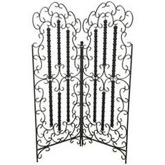 Wrought Iron and Wood Mediterranean Modern Folding Screen or Divider