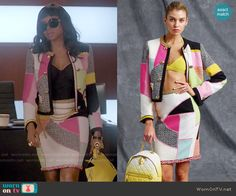 Cookie's colorblock jacket and skirt set on Empire.  Outfit Details: http://wornontv.net/52823/ #Empire