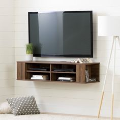 South Shore City Life Wall Mounted Media Console - x (d) x (h) (natural walnut), Beige, South Shore Furniture Wall Mounted Media Console, Wall Mount Tv Stand, Floating Tv Stand, Floating Tv Console, Life Tv, City Life, Furniture Deals, Adjustable Shelving, Entertainment Center