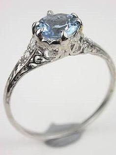 Antique Aquamarine Engagement Ring  Love the Filigree