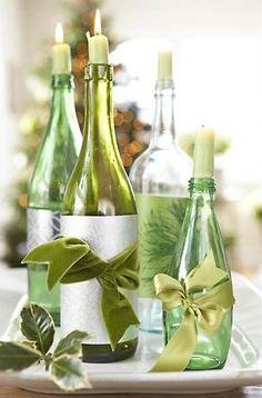 Botellas para centros de mesa - colores claros y frescos