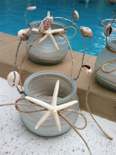 Starfish Tealight Candle Holders Set of 3 Nautical by ChiKaPea, $29.99