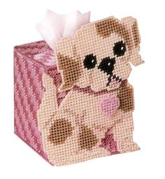 Cross Stitch tissue box ~ this is a kit which contains materials you will need ~ how cute is this! Plastic Canvas Stitches, Plastic Canvas Coasters, Plastic Canvas Ornaments, Plastic Canvas Tissue Boxes, Plastic Canvas Christmas, Plastic Canvas Crafts, Plastic Canvas Patterns, Woolen Craft, Hello Kitty