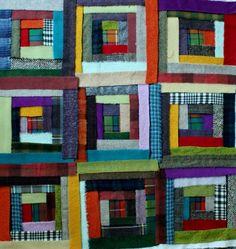 laine, wool, quilt, quilting, log cabin, cabane de rondins, patchwork