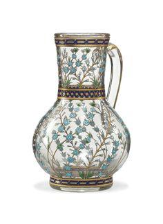 French gilt and enamelled glass jug in the Iznik style, signed Pottier, Nice, 1885 Glass Jug, Cut Glass, Ceramic Pottery, Pottery Art, Art Nouveau, Antique Glassware, Bronze, Jolie Photo, Sculpture