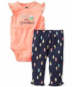 Carter's Baby Girls' 2-Piece Sweet Like Grandma Bodysuit & Ice Cream-Print Pants Set