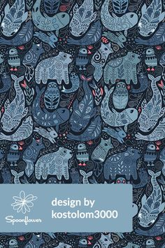 Arctic animals by kostolom3000 - Polar bear, puffin, whales, seal, owls, and bunny illustration on fabric, wallpaper, and gift wrap.  Hand drawn Arctic design. Beautiful illustration for pillows, tote bags, t-shirt, duvet covers, scarves, skirts, wallpaper or wrapping paper, home decor. #fabric #design #illustration #designer #illustrator #bear #whales #owls #bunny
