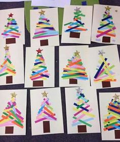 Paper Strip xmas tree craft for kids art time