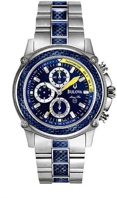 Bulova Stainless Steel Marine Star Chronograph Blue Dial Men Watches Watch 96A003