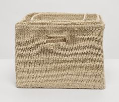 A soft structure square basket set woven from natural abaca fiber. Perfect for towels, toys or trinkets! Sold as a set of three. Square Baskets, Laundry Hamper, Rustic Farmhouse Decor, Storage Baskets, Basket Weaving, Crates, Wicker, Bed Pillows, Burlap