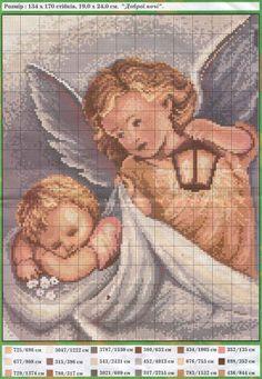 Solo Patrones Punto Cruz (pág. 484) | Aprender manualidades es facilisimo.com Cross Stitch Angels, Cross Stitch Rose, Cross Stitch Baby, Counted Cross Stitch Patterns, Cross Stitch Embroidery, Christmas Embroidery Patterns, Religious Cross, C2c, Cross Stitch Designs