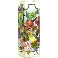Hummingbird/Lilies Stained Glass Decorative Flower Vase