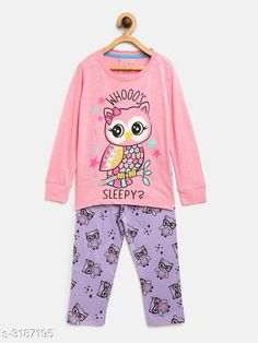 Nightsuits  Fancy Cotton Blend Printed Night Suit Fabric: Top - Cotton Blend  Pant - Cotton Blend Sleeves: Sleeves Are Included Neck: Round Neck Size: Age Group (1 - 2 Years) - 18 in Age Group (2 - 3 Years) - 20 in Age Group (3 - 4 Years) - 22 in Age Group (4 - 5 Years) - 24 in Age Group (5 - 6 Years) - 26 in Age Group (6 - 7 Years) - 28 in Age Group (7 - 8 Years) - 30 in Type: Stitched Description: It Has 1 Piece Of Girl's Top & 1 Piece Of Pant Work: Top - Printed  Pant - Printed Country of Origin: India Sizes Available: 2-3 Years, 3-4 Years, 4-5 Years, 5-6 Years, 6-7 Years, 7-8 Years, 1-2 Years   Catalog Rating: ★4.3 (916)  Catalog Name: Girl's Fancy Cotton Blend Printed Night Suits Vol 1 CatalogID_438294 C62-SC1158 Code: 592-3187195-