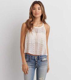 f8605f6faf22a AEO Lace Hi-Neck Tank - Pairs Great with an Aerie Bralette!