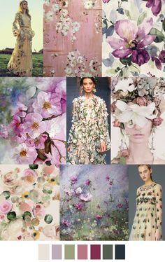Let's try this colorful floral palette today, girls. Lots of pretty watercolors and floral things to pin! Let's stay to the look and style of this palette. No dark colors or primaries today! Colour Schemes, Color Combos, Color Patterns, Floral Patterns, Colour Palettes, Textile Patterns, Pantone, Arte Fashion, Fashion 2018