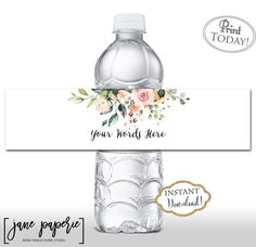 Label Templates, Templates Printable Free, Printable Water Bottle Labels, Printable Labels, Gold Shower, Boho Baby Shower, Custom Labels, Gifts For Mom, Floral