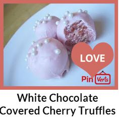 Cherry chip cake balls covered in white chocolate!