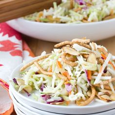 The first time I discovered ramen noodle salad was a culinary revelation. (Yes, those 99-cent ramen noodles.) It was sweet, tangy, and crunchy all at the same time, and it was a far cry from the creamy Southern slaws of my youth. Needless to say, I was hooked.
