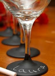 chalk board paint dipped wine glasses--fun party idea, could do names or so much more...