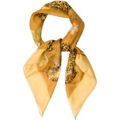 Pre-owned Salvatore Ferragamo Square Animal Print Scarf featuring polyvore, women's fashion, accessories, scarves, fillers, lenços, yellow, yellow shawl, animal print scarves, salvatore ferragamo, square shawl and colorful shawl