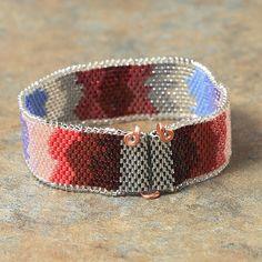 Metallic Shimmer Beaded Peyote Stitch Bracelet by PuebloAndCo, $35.00