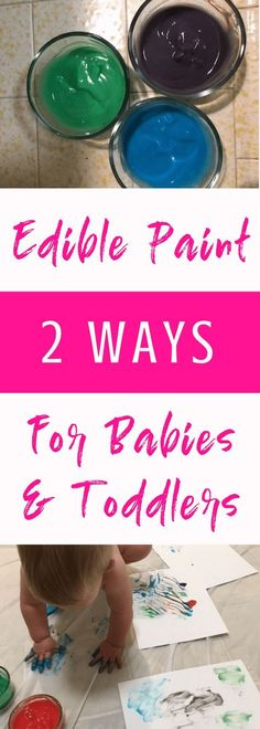 Finger painting can be a fun sensory activity for babies and toddlers. Check out these recipes for edible paint in case your kids decide to eat their paint! Easy to make at home. #sensoryplay #babies #toddlers #kids #paint #fingerpaint