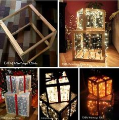 DIY Lighted Outdoor Christmas Presents! Outdoor Christmas Presents, Christmas Present Decoration, Christmas Present Boxes, Diy Christmas Lights, Xmas Lights, Decorating With Christmas Lights, Noel Christmas, Outdoor Christmas Decorations, Christmas Boxes