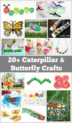 Over 20 Caterpillar and Butterfly Crafts for Kids~ Preschool Spring crafts! Spring Activities, Preschool Crafts, Toddler Activities, Preschool Activities, Preschool Centers, Daycare Crafts, Insect Crafts, Bug Crafts, Projects For Kids