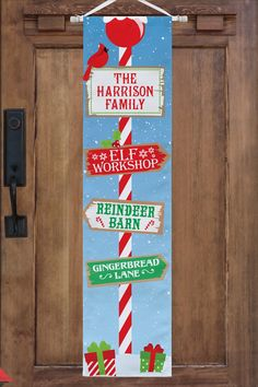Skip the wreath and hang this fun front door banner instead! It's a bright holiday greeting that can't be missed. Christmas Ideas, Christmas Decorations, Holiday Decor, Personalized Christmas Gifts, Holiday Wishes, Banner, Wreaths, Bright, Doors