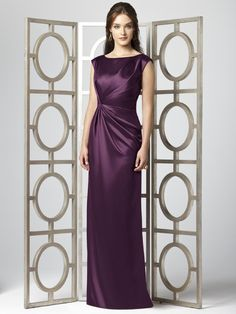 Dessy Collection Style 2854  Fabric: Renaissance Satin   Cap sleeve full length renaissance satin dress with draped detail at bodice and skirt. Sizes available 00-30W, and 00-30W extra length.  Dress Colors: viewing - eggplant