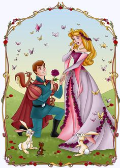 """"""" flowers , birds , animals and love a life on which she had waited for and dreamt of for years - Princess Aurora and her Prince """""""