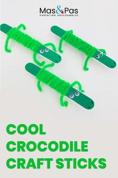 Make these fab and funky little crocs using lollipop sticks and pipe cleaners. This is a quick and easy crocodile craft for kids. These lollystick crocs are great fun to make and even more fun to keep and play with afterwards. Plus they only take a few minutes to put together! #kidscrafts #funactivities #crocodilecraft #kidsactivities