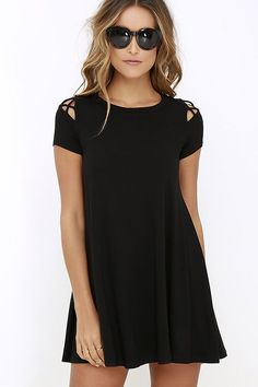Take Effect Black Swing Dress at Lulus.com