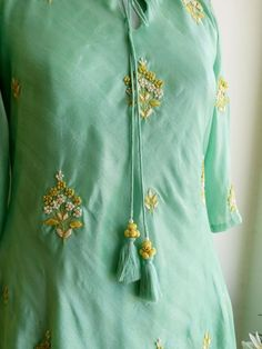 Embroidery Suits Punjabi, Kurti Embroidery Design, Embroidery Dress, New Style Suits, Kurta Patterns, Embroidered Kurti, Kurta Designs Women, Casual Work Outfits, Party Wear Dresses