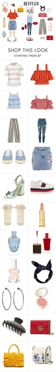 """""""Fun in the summer: ruffles"""" by krown ❤ liked on Polyvore featuring Samantha Pleet, River Island, Alice + Olivia, Yves Saint Laurent, Topshop, Ivy Kirzhner, Gucci, Monsoon, Kevyn Aucoin and Tom Ford"""