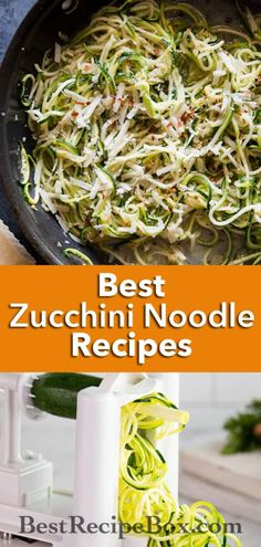 Best zucchini noodles recipes with vegetable spiralizer recipes @bestrecipebox Zucchini Noodles Recipe Garlic, Keto Zoodles Recipe, Zucchini Noodle Recipes, Broccoli Soup Recipes, Zoodle Recipes, Chicken Parmesan Recipes, Spiralizer Recipes, Vegetable Recipes, Pasta Recipes