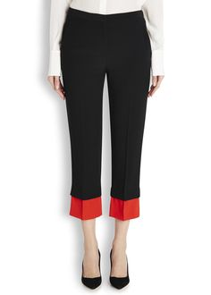 Two-tone cropped crepe trousers - Women
