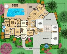 This is really an ideal plan with a Master Suite overlooking the pool and has proper clothing closets !  An exercise room overlooking the pool, too !  Garages with easy access for all the cars. Lovely home.