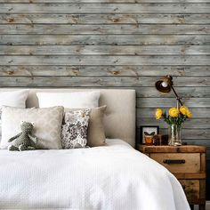 Grey Vintage Wood Wallpaper - Peel and Stick, Wood Wall Paneling, Wood Wall Art