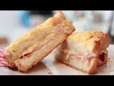Sandwich Croque Monsieur Auténtico - Receta Original - YouTube Ideas Sándwich, Chefs, Hot Dogs, French Toast, Sandwiches, Muffin, Tasty, The Originals, Recipes