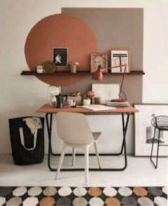 Décor of the day: geometric painting on the home office wall . Décor of the day: geometric painting on the home office wall Home Office Design, Home Office Decor, House Design, Office Ideas, Office Setup, Home Office Colors, Color Schemes For Office, Vintage Office Decor, Home Office Bedroom