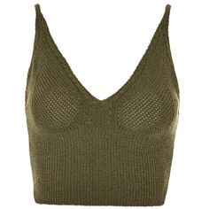 Topshop Petite Ribbed Crochet Bralet ($21) ❤ liked on Polyvore featuring tops, khaki, ribbed crop top, crochet bralette top, crop top, bralette crop top and v-neck tops