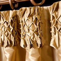 Detail: Smocked top drapery panels by Gillian Wendell -- beautiful details Curtains And Draperies, Home Curtains, Drapery Panels, Custom Curtains, Drapery Fabric, Drapery Styles, Drapery Designs, Modern Window Treatments, Curtain Headings