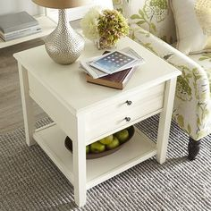 Anywhere Large End Table - Antique White