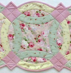 (7) Name: 'Quilting : Double Wedding Ring Table Runner