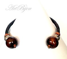 Charm Necklaces – Leather Necklace, Ceramic Necklace, Boho  – a unique product by ArtBijou on DaWanda