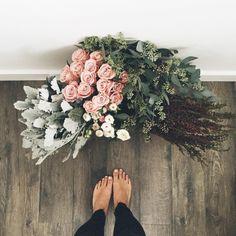 Dusty Miller, Roses, Eucalyptus, Burgundy Astilbie
