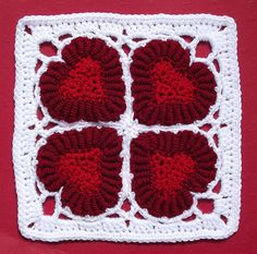 Valentine Hearts Crochet Bullion Afghan