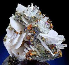 Amazing combination of Calcite, Quartz and Chalcopyrite From Boldut Mine, Romania. Via: Quartzsite Happenings Visit Amazing Geologist for more..