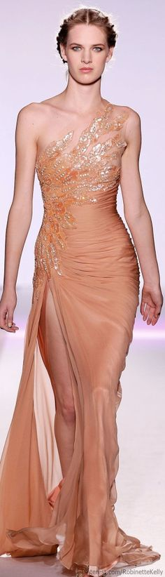Zuhair Murad ~ One Shoulder Embellished Chiffon Gown w Side Open, Tangerine 2015